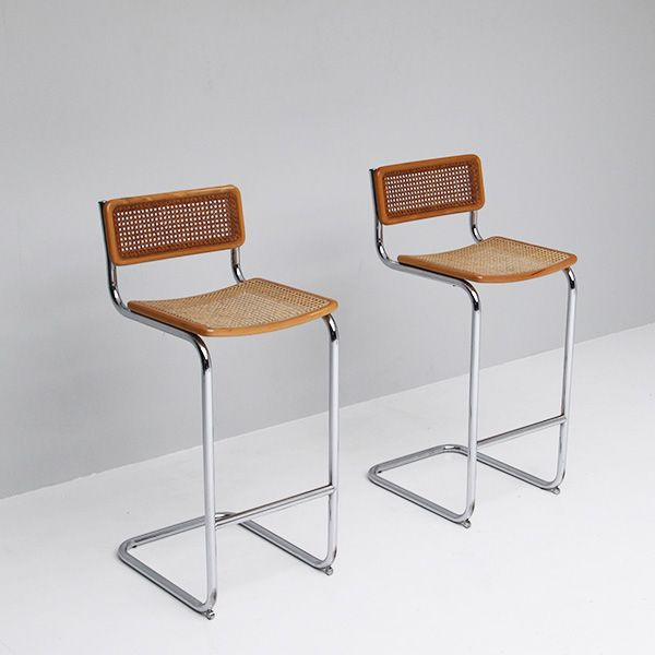 Cesca Bar Stools By Marcel Breuer 1970s Set Of 2 For