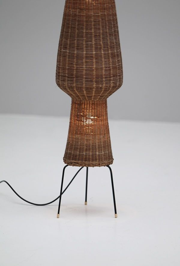Woven cane floor lamp 1950s for sale at pamono for Floor lamp with woven shade