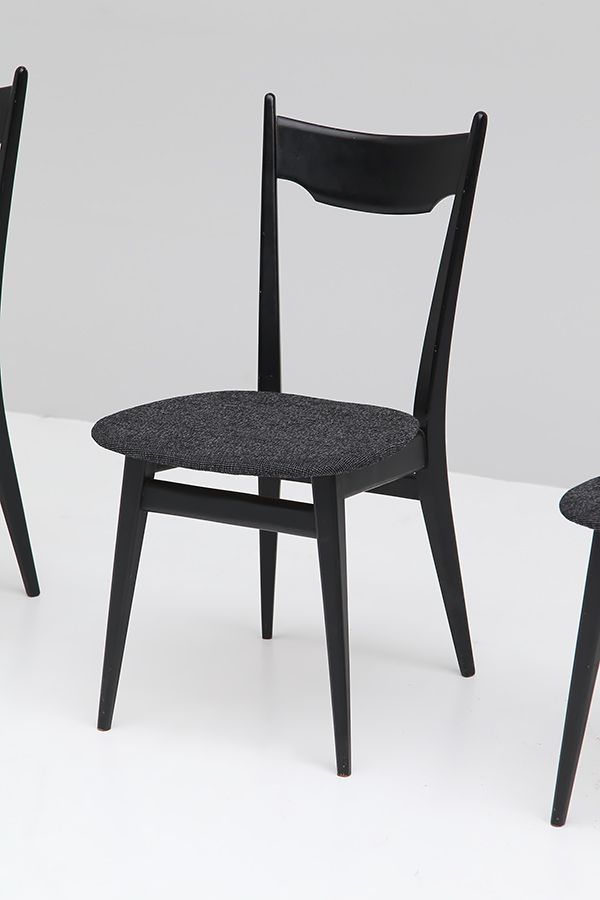 Black Ebonized Wood Dining Chairs 1970s Set of 4 for