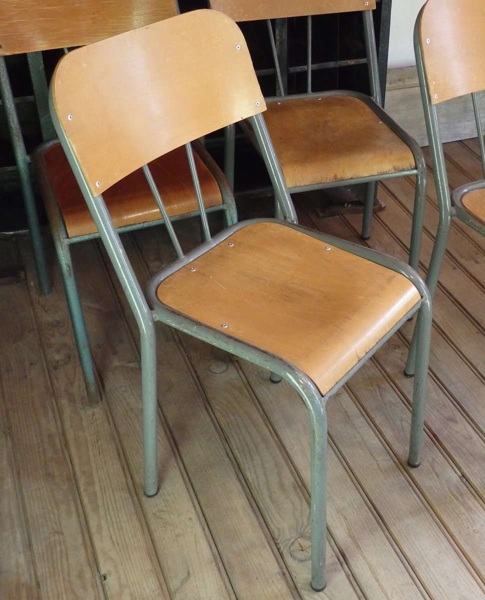 Wood metal school chair 1950s for sale at pamono for Chaise ecolier vintage