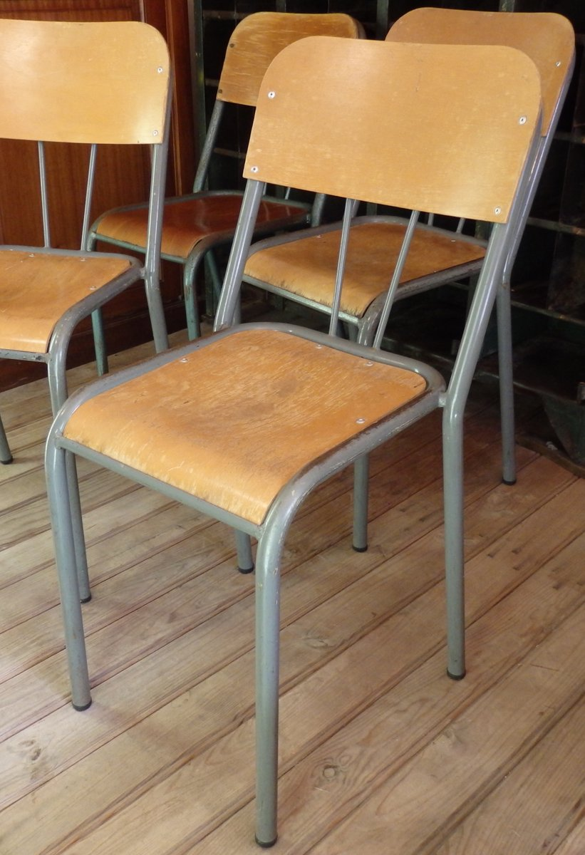 Wood Metal School Chair 1950s for sale at Pamono