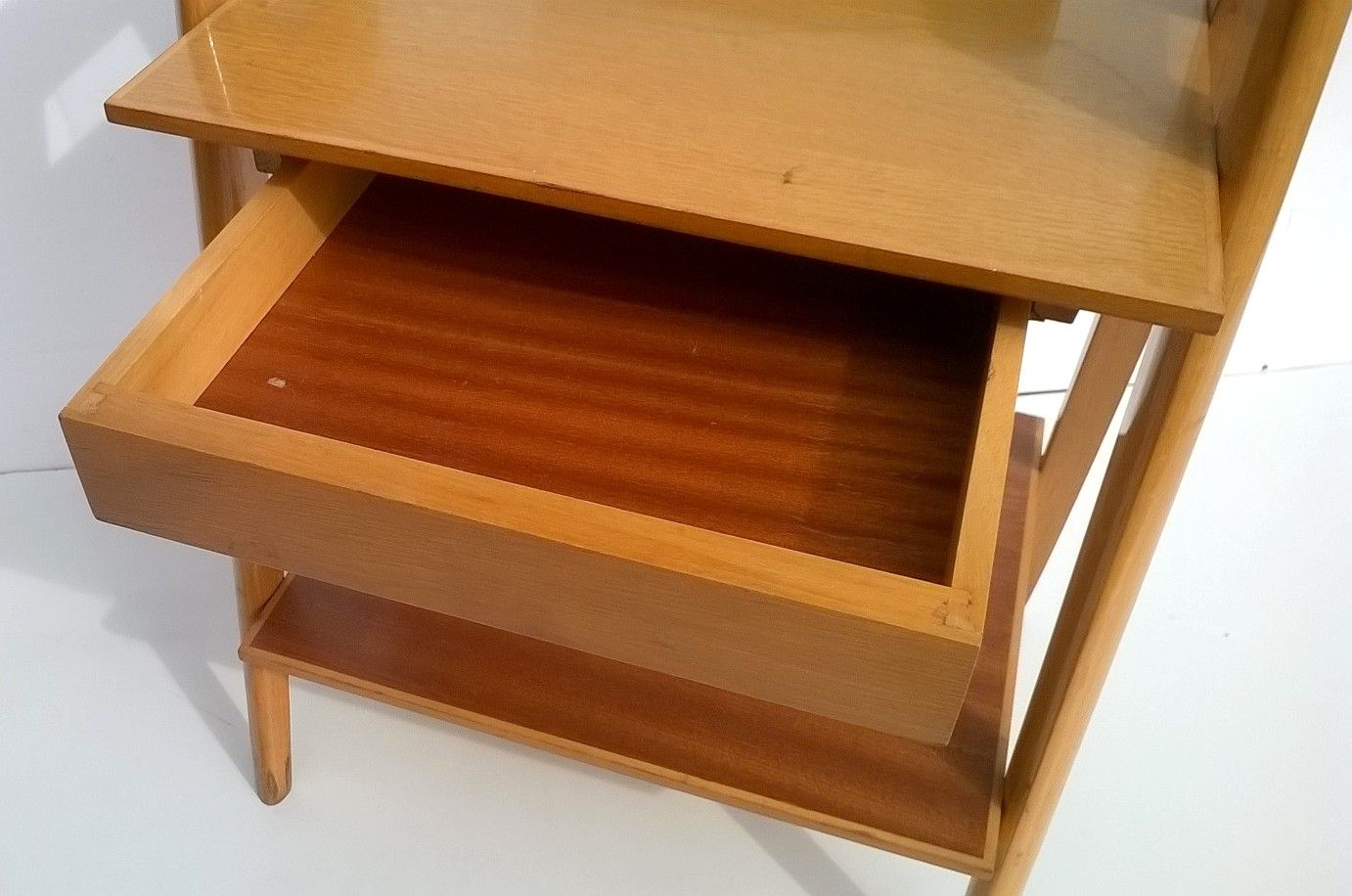 Glass Bedside Table : Italian Beech and Glass Bedside Table, 1950s for sale at Pamono