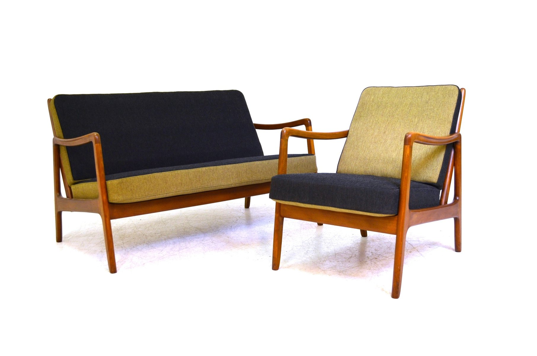 sofa set with easy chair by ole wanscher for france daverkosen for sale at pamono. Black Bedroom Furniture Sets. Home Design Ideas