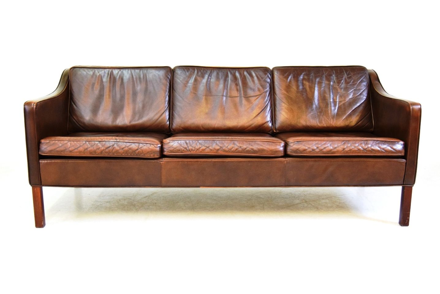 Vintage Brown Leather 3 Seater Sofa From Mogens Hansen For Sale At Pamono