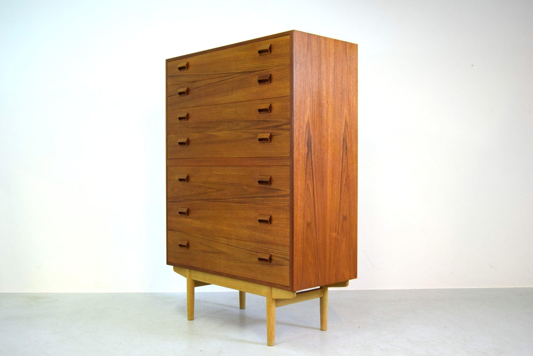 hohe teak kommode von b rge mogensen f r s borg m bler. Black Bedroom Furniture Sets. Home Design Ideas