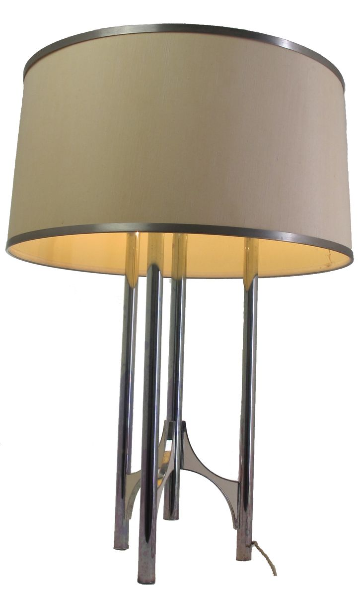 Silver plated brass floor lamp by gaetano sciolari for for Brass plated floor lamp