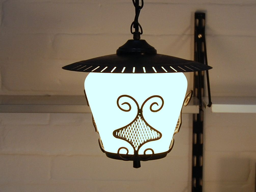 black white hanging lamp 1950s for sale at pamono