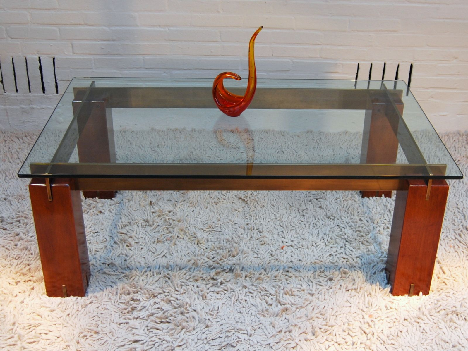 Vintage italian coffee table with solid wooden legs 1970s for Wooden table legs for sale
