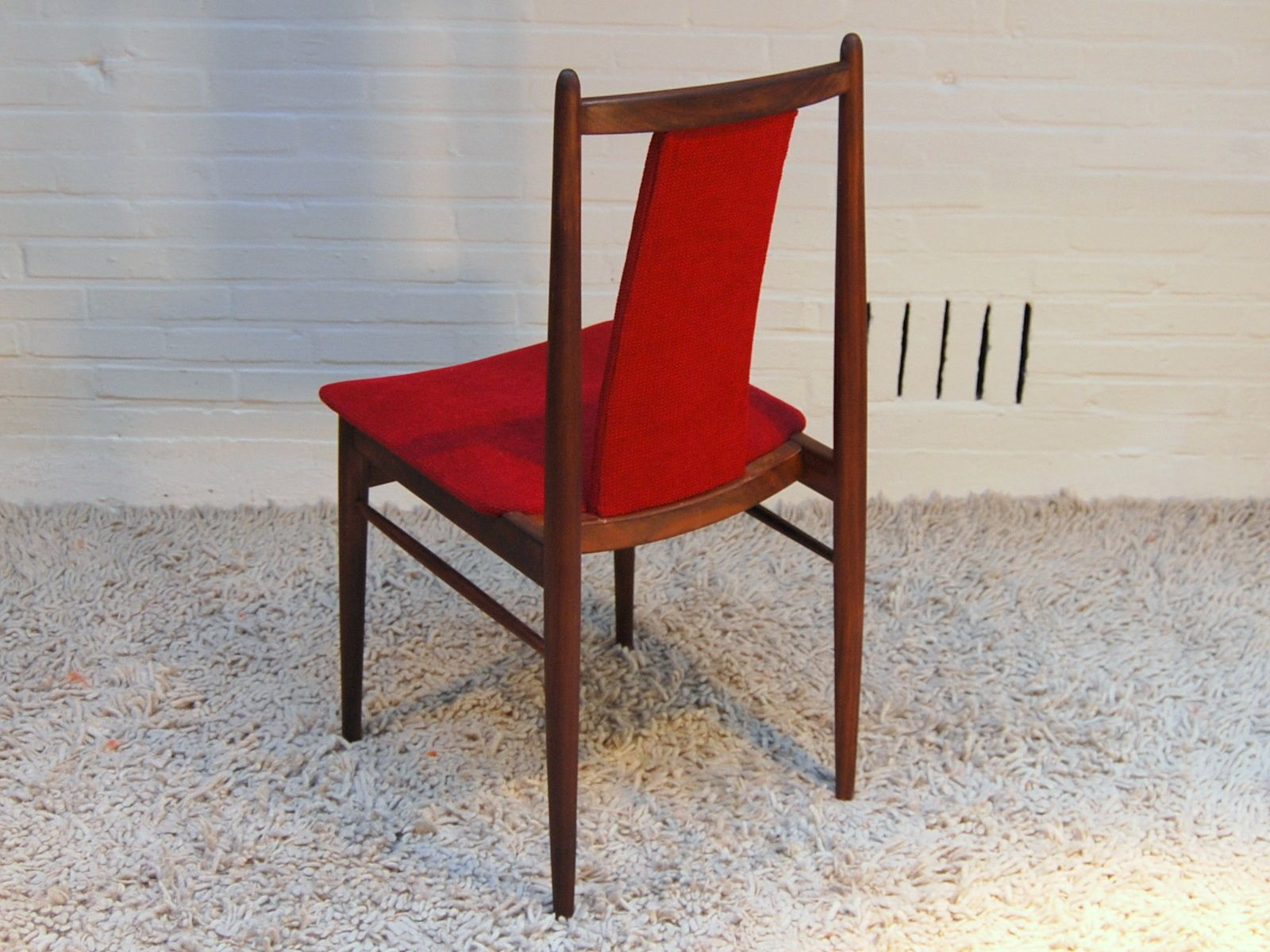Red dining chairs from topform 1955 set of 7 for sale at for Red dining chairs for sale