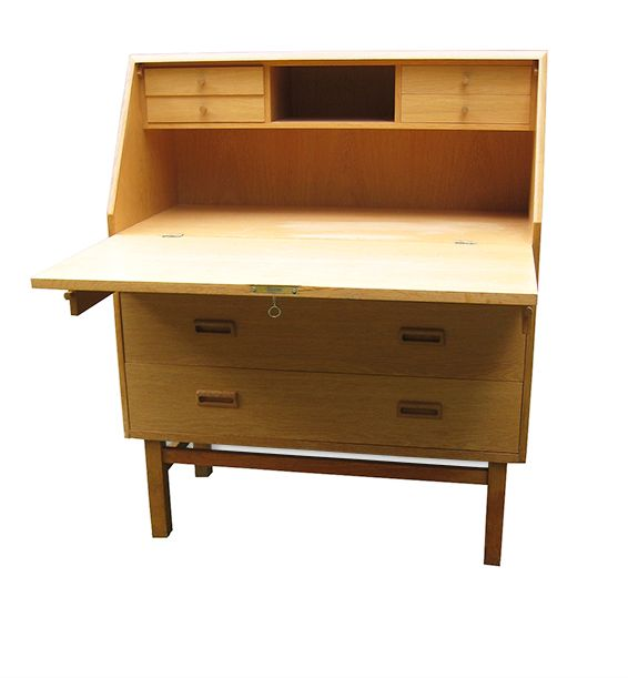 oak writing bureau by holger jensen for fdb furnitures 1960 for sale at pamono. Black Bedroom Furniture Sets. Home Design Ideas