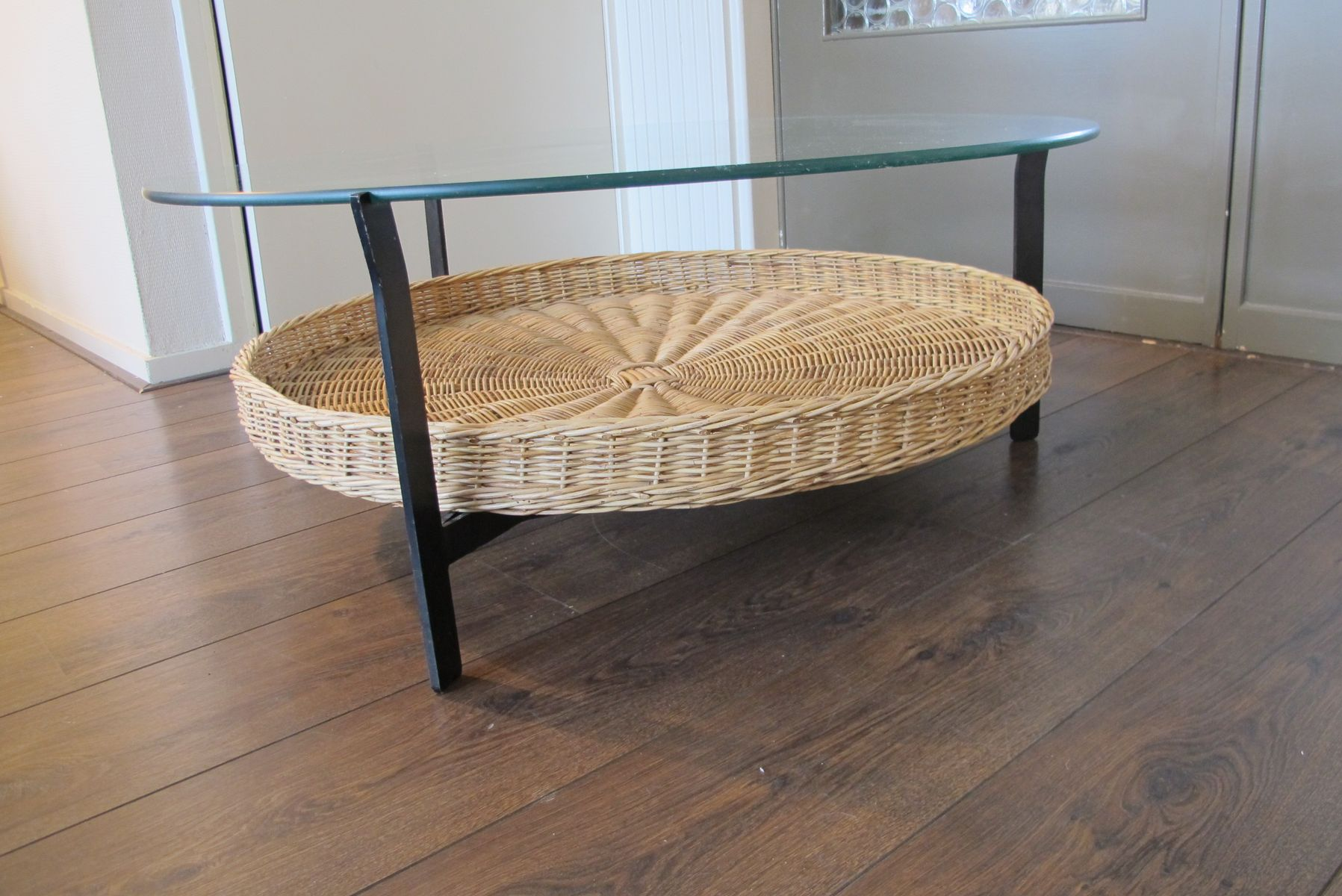 Vintage Coffee Table With Rattan Magazine Basket 1965 For Sale At Pamono