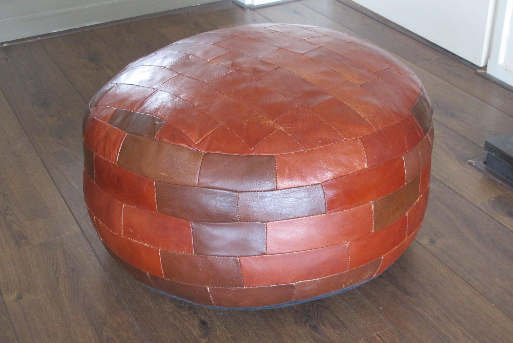 vintage patchwork leather ottoman for sale at pamono. Black Bedroom Furniture Sets. Home Design Ideas