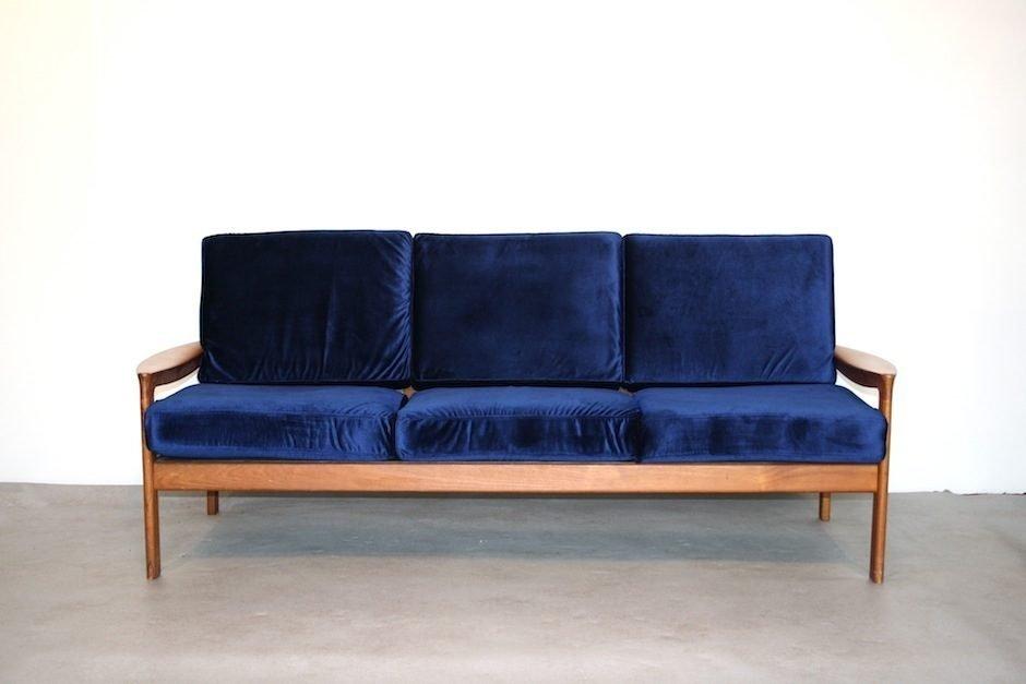 Captivating Vintage Teak Scandinavian Sofa In Blue Velvet, 1960s