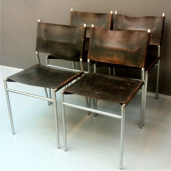 Leather chrome dining chairs 1960s set of 4 for sale for Leather and chrome dining chairs