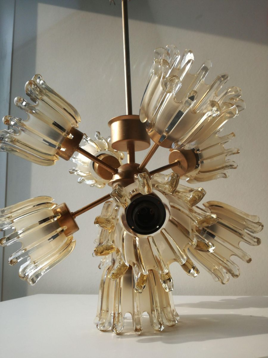 Glass Tulip Sputnik Chandelier From Doria 1960s For Sale