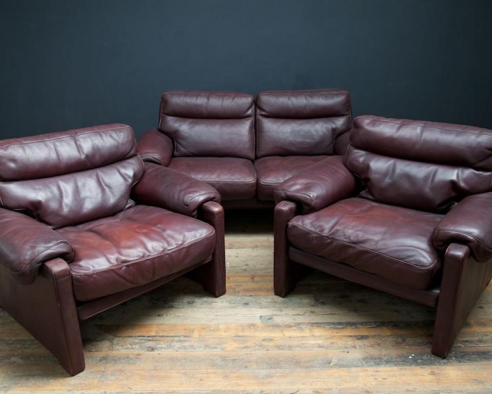 2 sitzer sofa und sessel set von de sede 1970er bei pamono kaufen. Black Bedroom Furniture Sets. Home Design Ideas