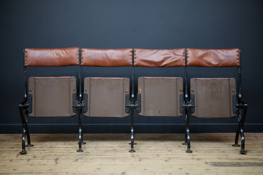 Antique Cast Iron And Leatherette Theatre Seat Set Of 4 For Sale At Pamono