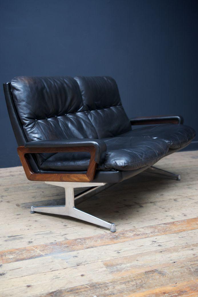 king 2 sitzer leder sofa von strassler 1970er bei pamono kaufen. Black Bedroom Furniture Sets. Home Design Ideas