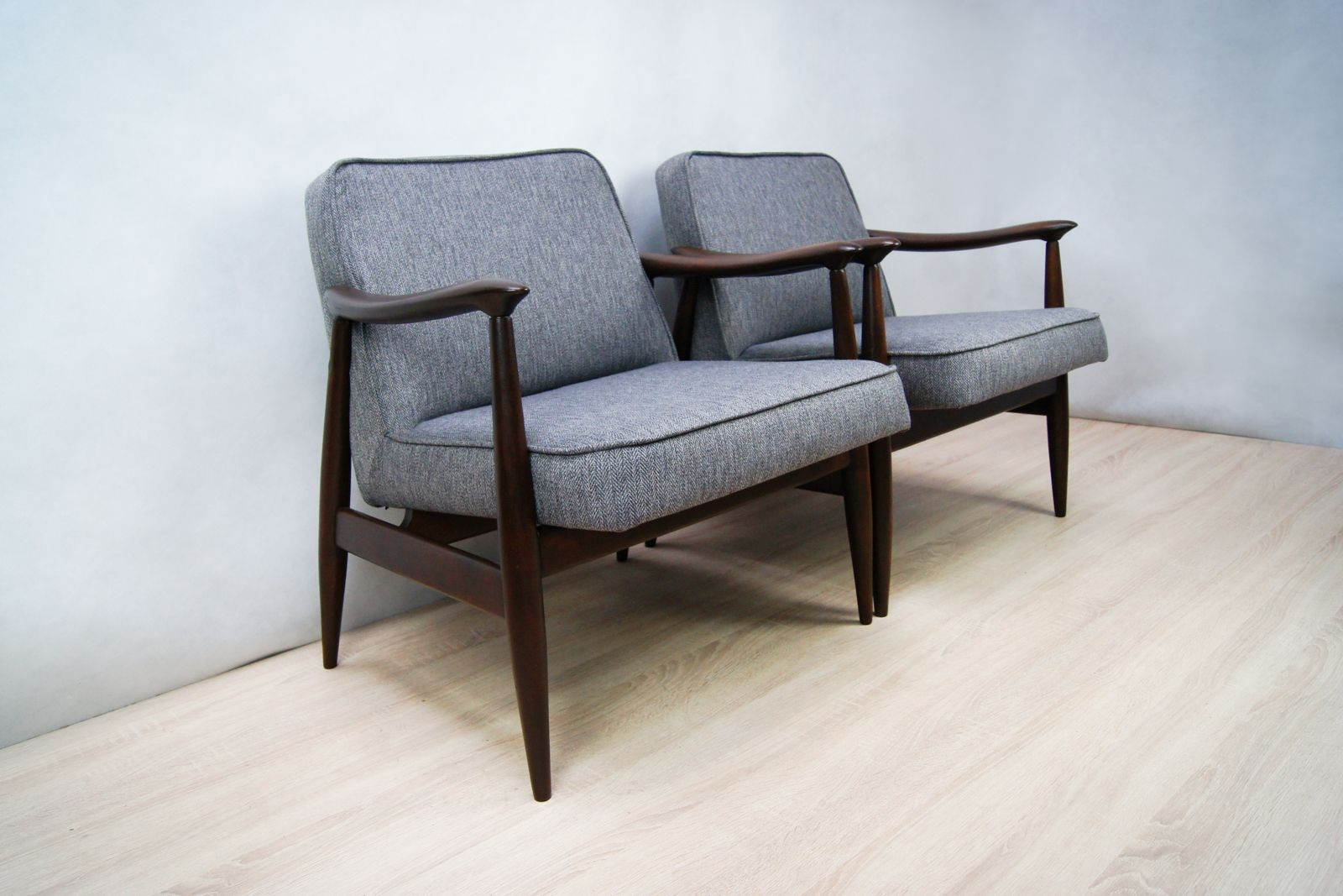 Mid century gfm 87 armchairs by juliusz kedziorek for for Furniture factory