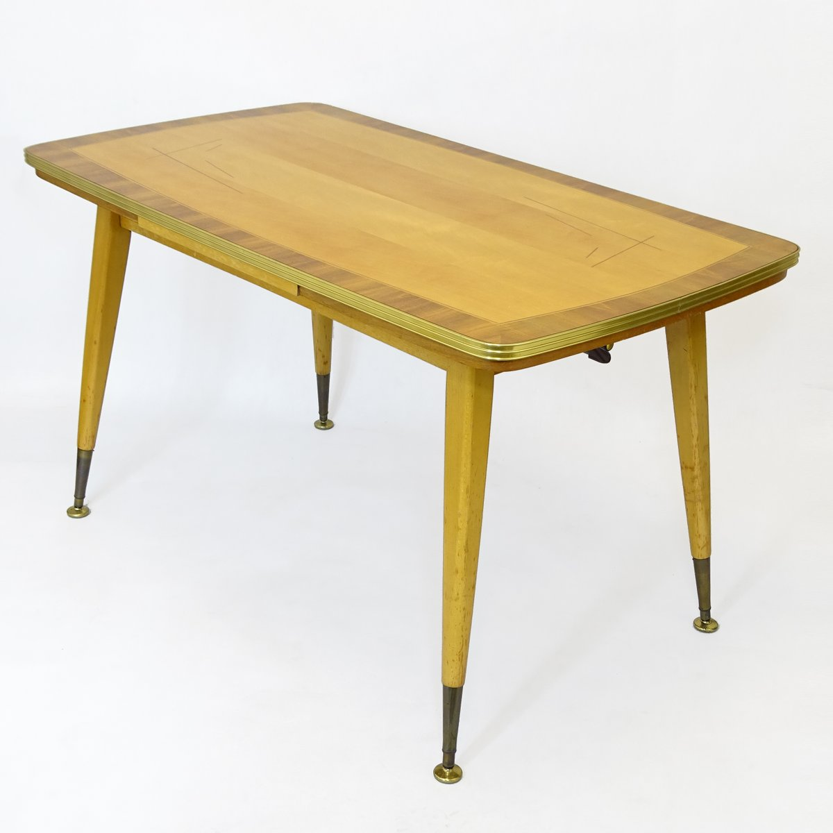 German Dining Or Coffee Table With Golden Finish 1970s