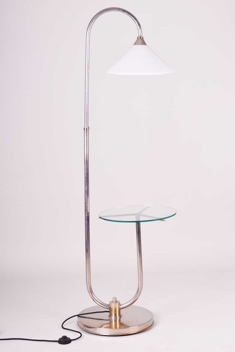 Floor lamp with glass shelf by jindrich halabala for for Floor lamp with shelves australia