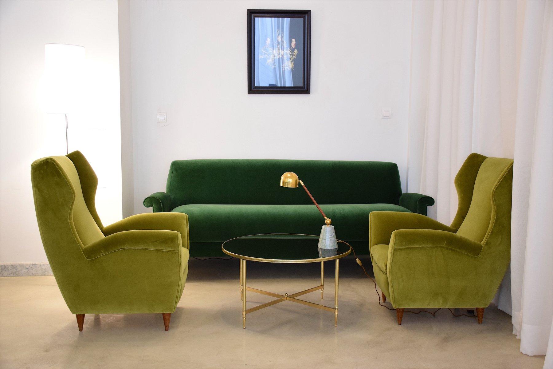 Sofa designklassiker  Grünes Italienischer Mid-Century Samt Sofa bei Pamono kaufen