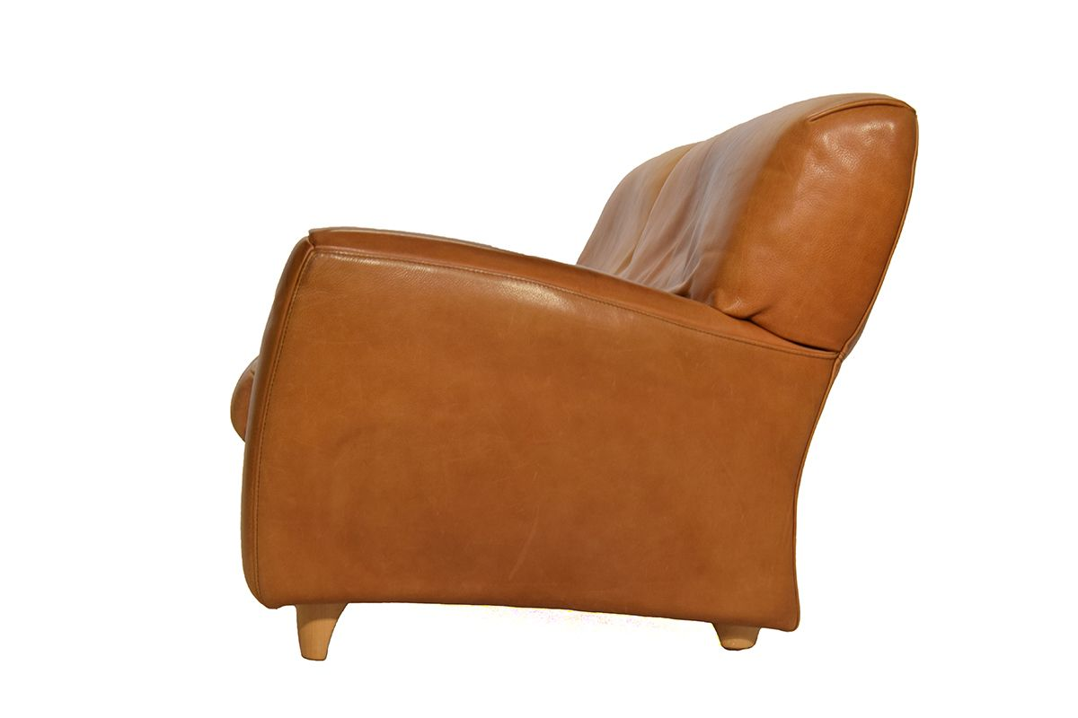 Fatboy Natural Cognac Leather Sofa From Molinari 1980s