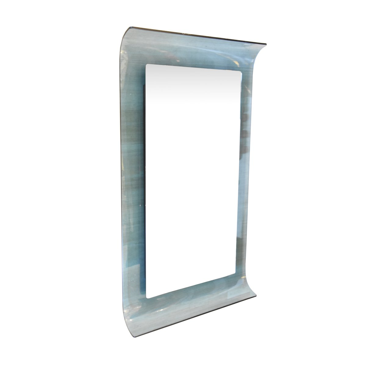 Curved blue crystal glass mirror by santambrogio and de for Glass and mirror