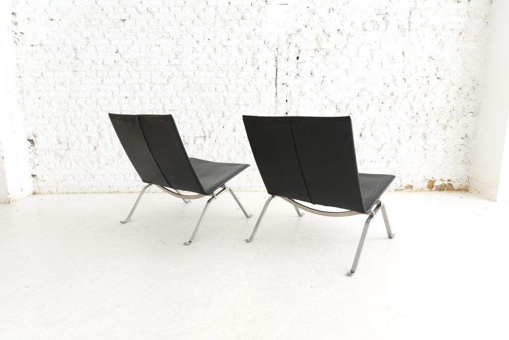 pk22 st hle von poul kjaerholm f r fritz hansen 2er set. Black Bedroom Furniture Sets. Home Design Ideas