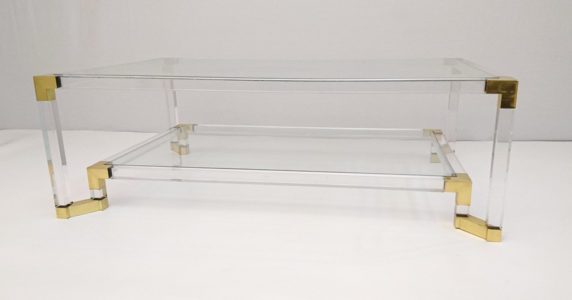 Vintage Lucite and Brass Two Tiered Coffee Table for sale at Pamono