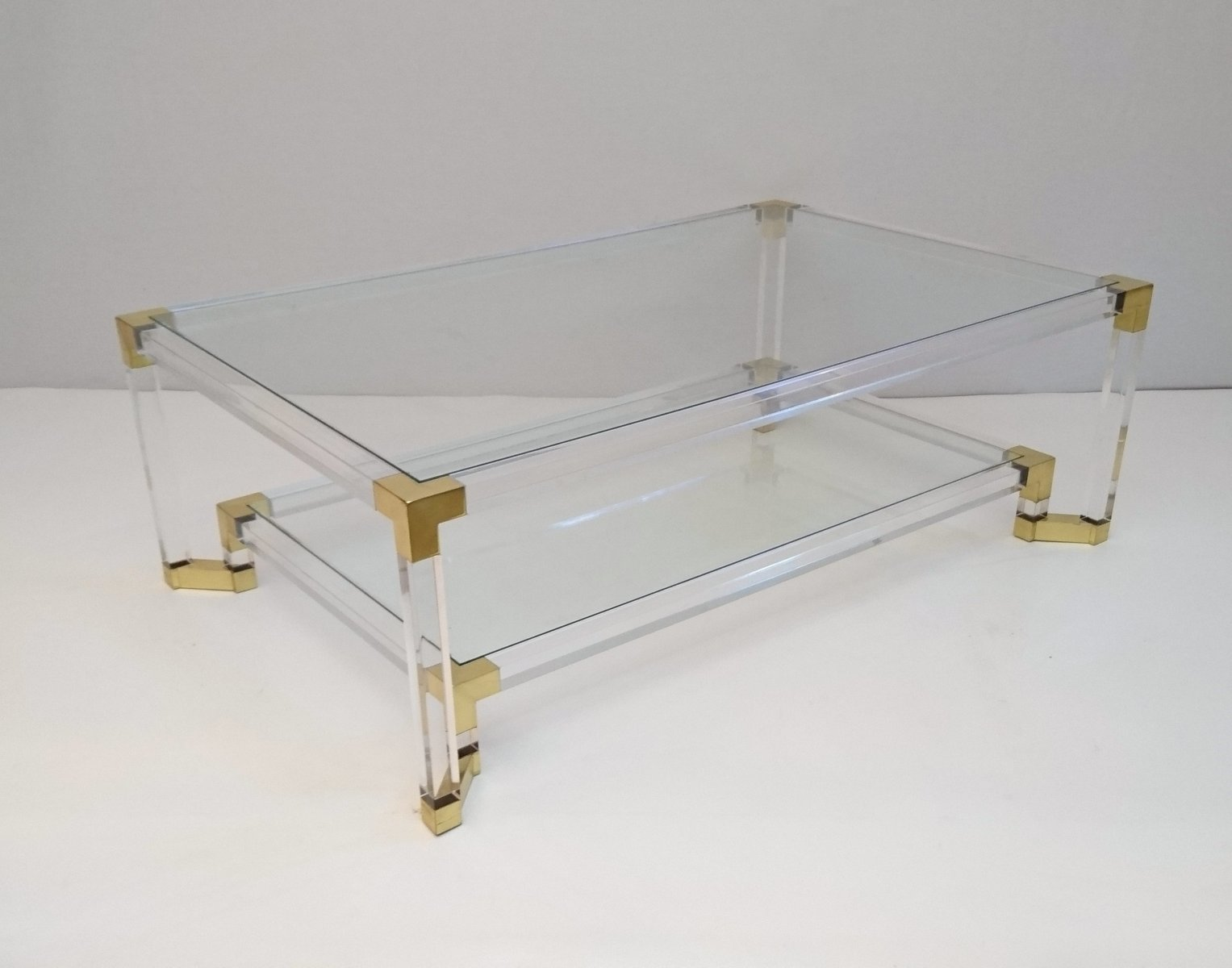 Vintage lucite and brass two tiered coffee table for sale at pamono vintage lucite and brass two tiered coffee table geotapseo Choice Image