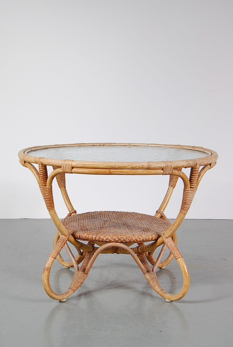 Round rattan coffee table with glass top from roh 1950s for sale at pamono Rattan round coffee table