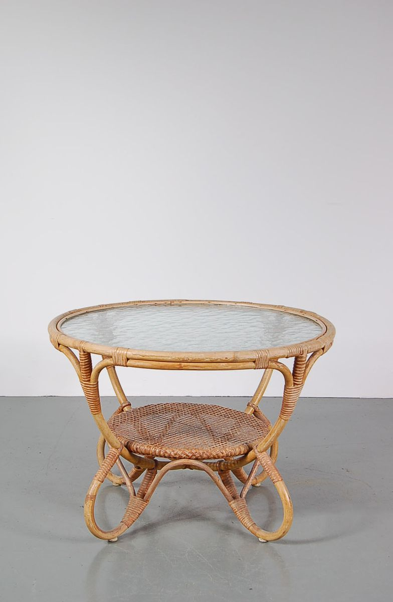Round Rattan Coffee Table With Glass Top From Roh 1950s For Sale At Pamono