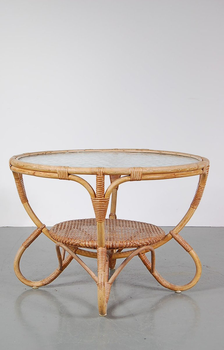 Round rattan coffee table with glass top from roh 1950s for Round glass coffee table top