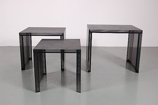 Vintage perforated metal nesting tables s set of