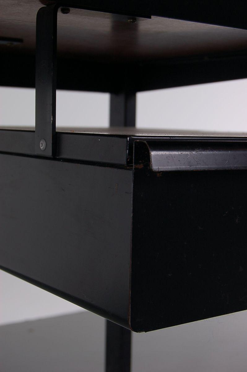 Schwarzer metall schreibtisch und stuhl set von friso for Schreibtisch set