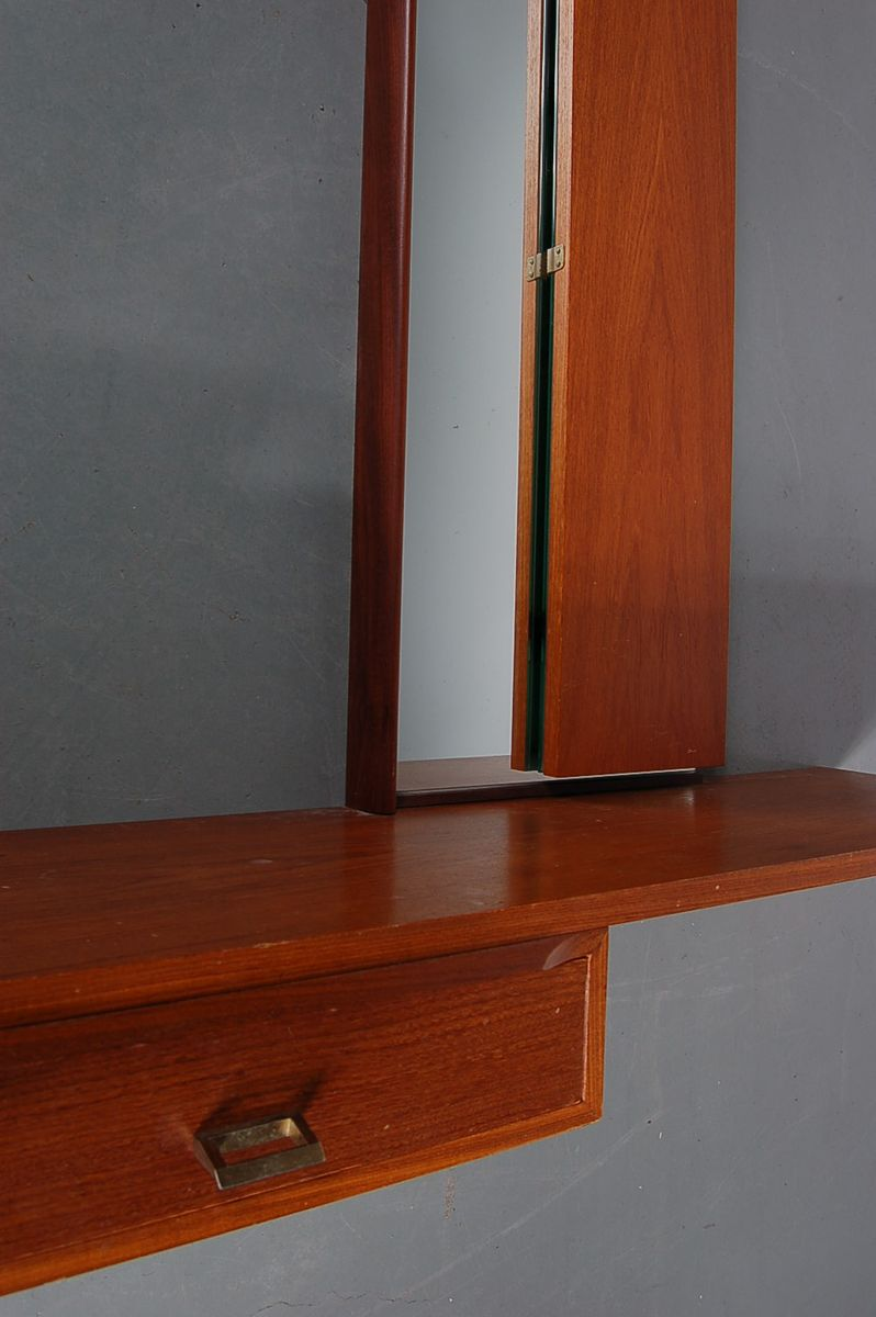 Mid Century Teak Wall Mounted Make Up Table For Sale At Pamono