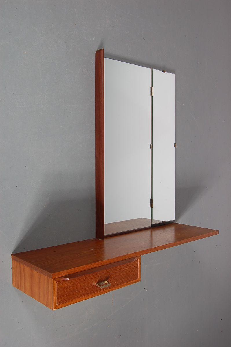 mid century wandmontierter schminktisch aus teak bei. Black Bedroom Furniture Sets. Home Design Ideas