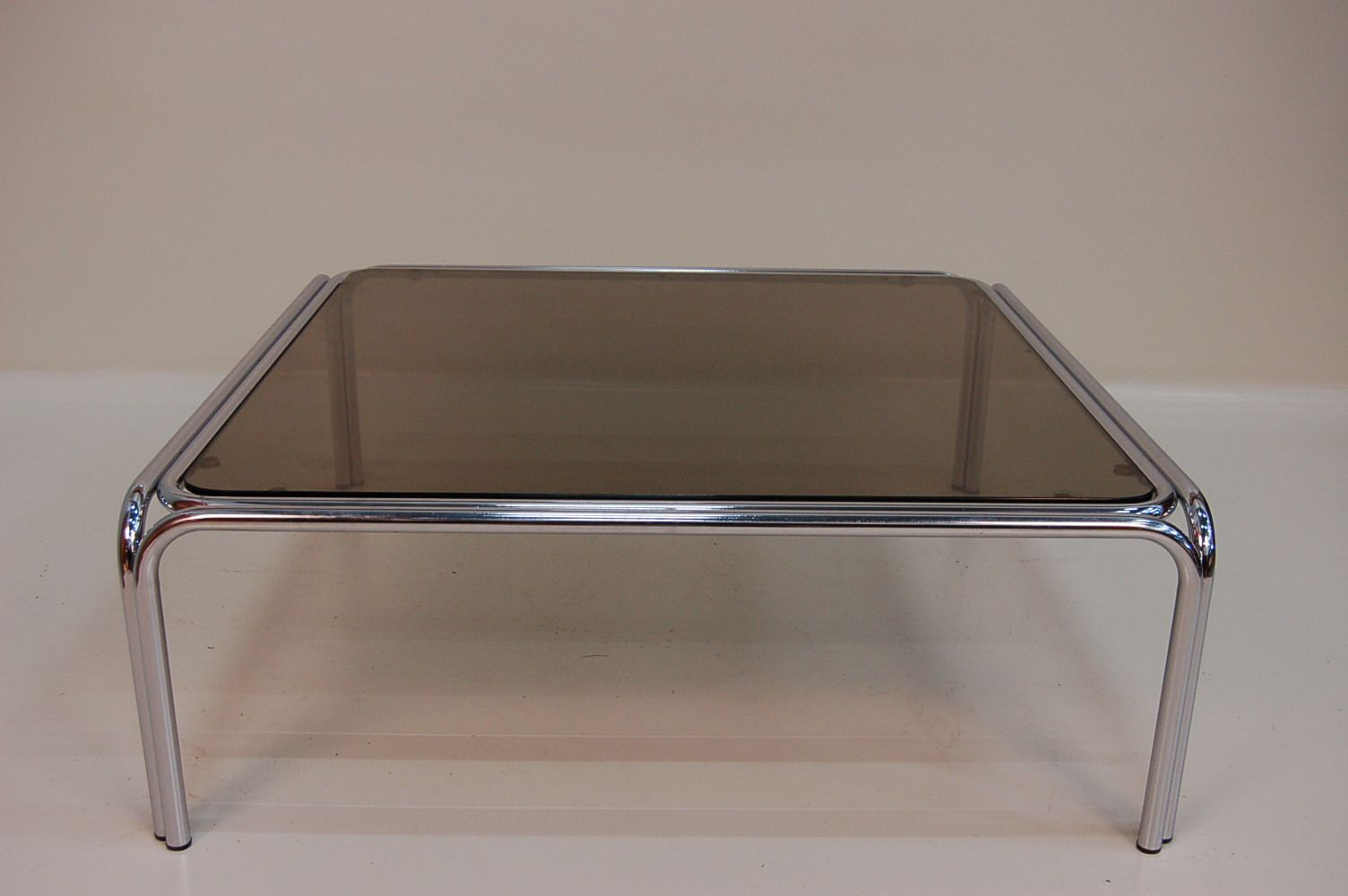 Large Glass And Chrome Italian Coffee Table For Sale At Pamono