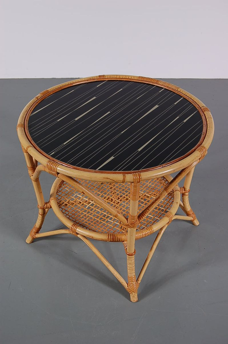 Rattan coffee table 1950s for sale at pamono for Rattan coffee table