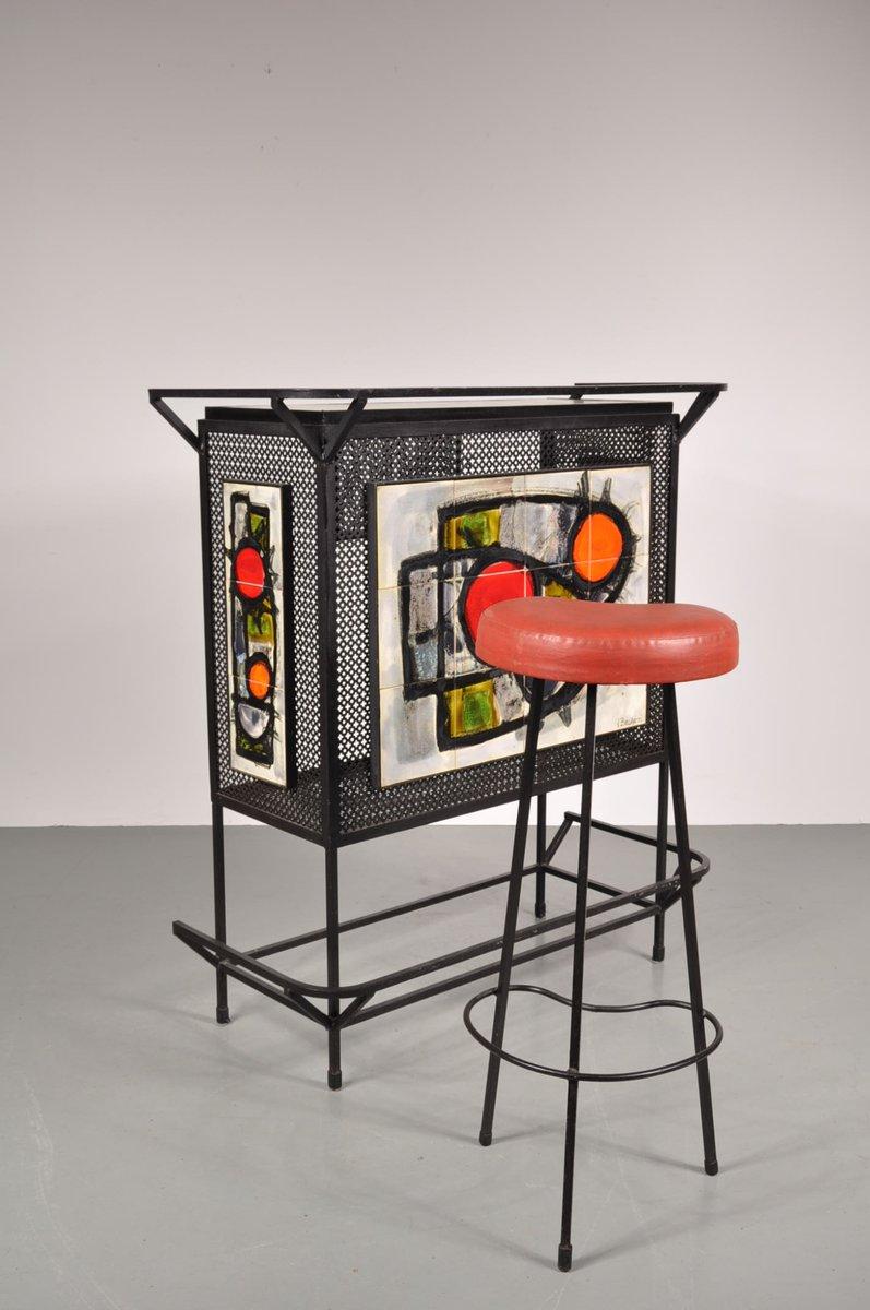 bar mit hocker von juliette belarti 1950er bei pamono kaufen. Black Bedroom Furniture Sets. Home Design Ideas