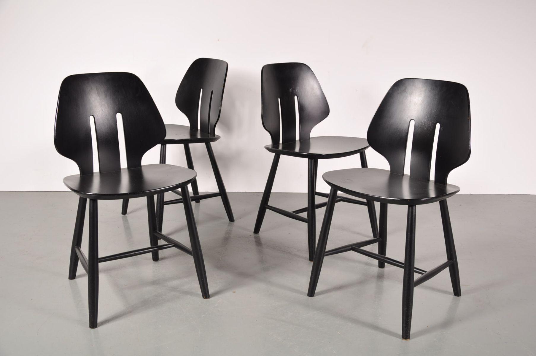 Skandinavische Esszimmerstühle Von Ejvind A Johansson Für FDB Mobler,  1950er, 4er Set
