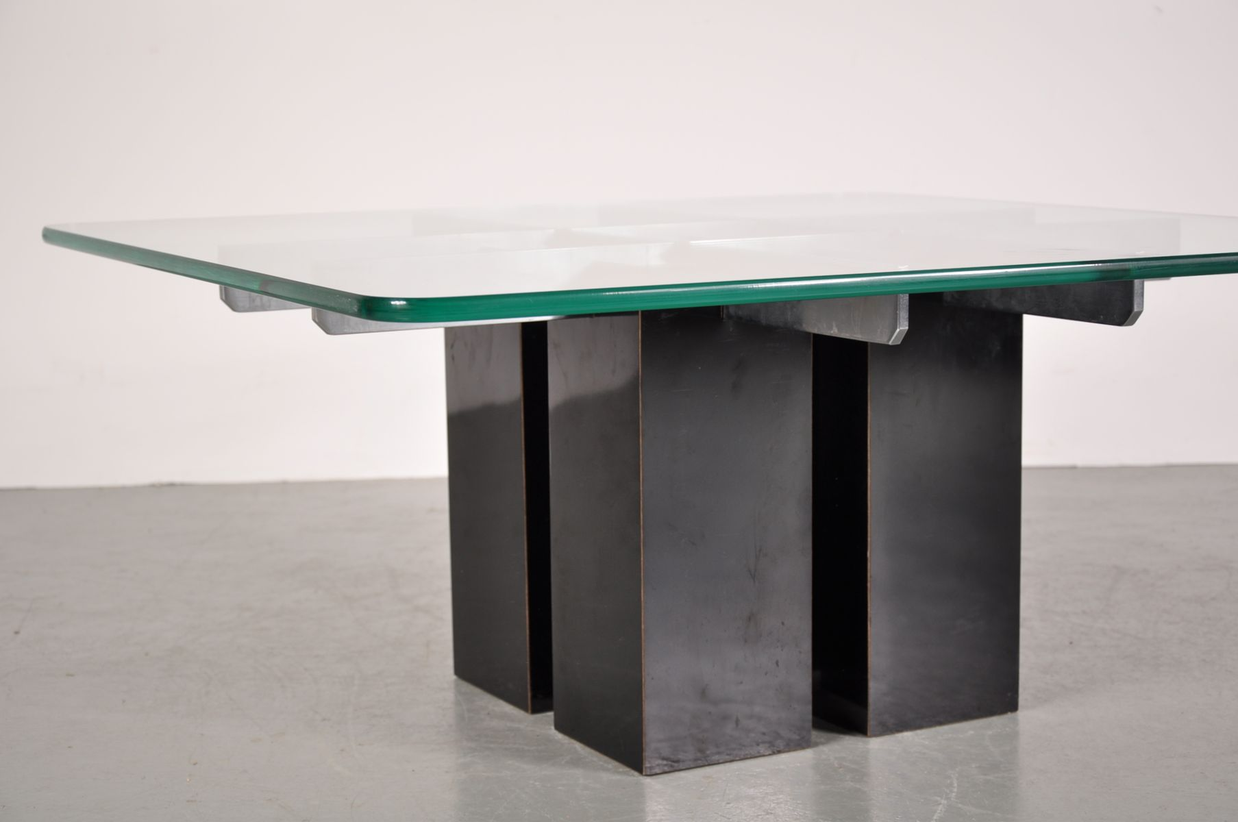 Italian Black Chrome And Glass Coffee Table For Sale At Pamono