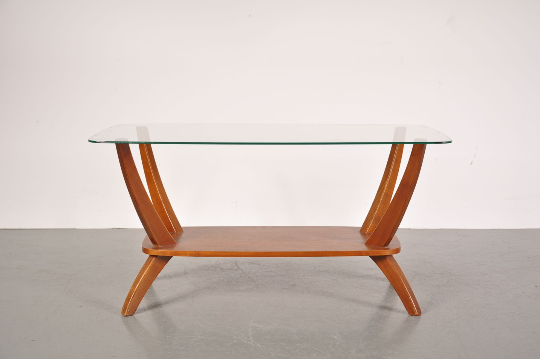 Mid century teak glass coffee table for sale at pamono for Glass coffee tables for sale