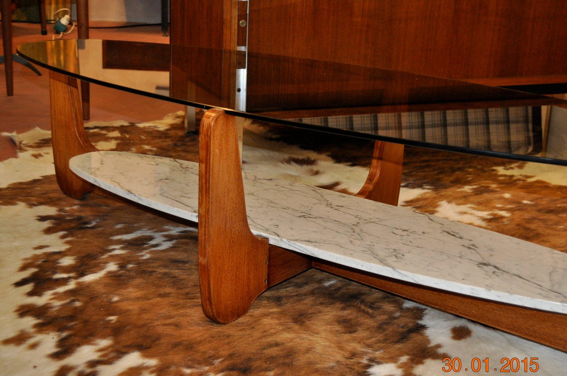 Ovaler mid century glas marmor couchtisch von hugues - Ovaler couchtisch glas ...
