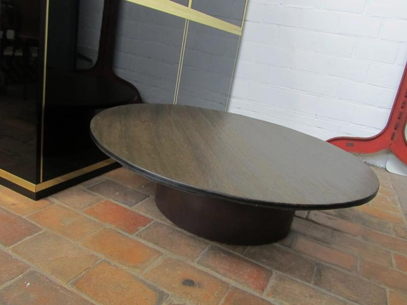 Vintage Round Coffee Table With Stone Top 1960s