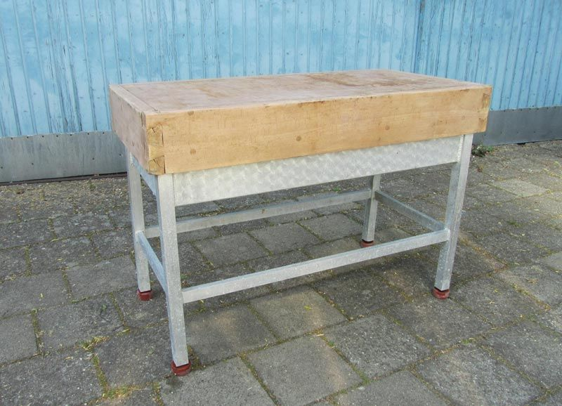 Vintage industrial butcher 39 s chopping block table for sale for Butcher block manufacturers