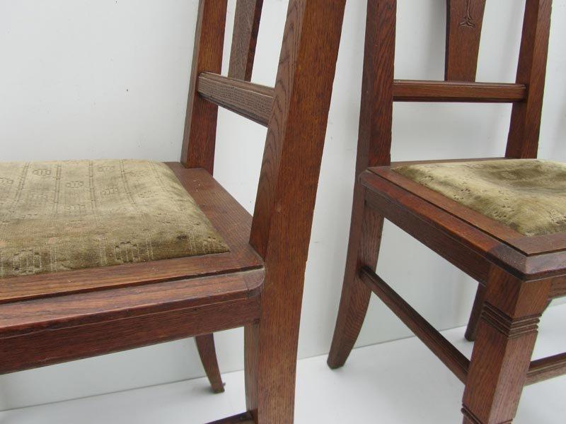 Jugendstil Esszimmerstühle Aus Geschnitzter Eiche, Ca. 1900, 2er, Esszimmer  Dekoo