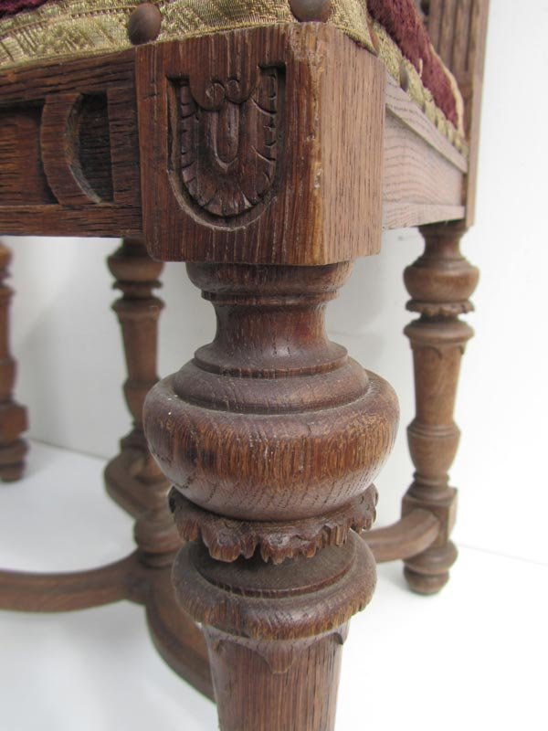 Antique Belgium Carved Oak Dining Chairs Set Of 8 For