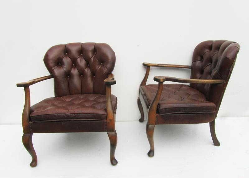Queen Anne Style Leather Chairs, 1940s, Set Of 2